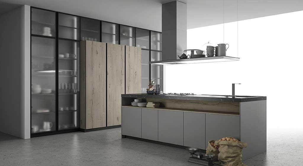 Cucina componibile ante in vetro cucina con telaio in - Ante in vetro cucina ...