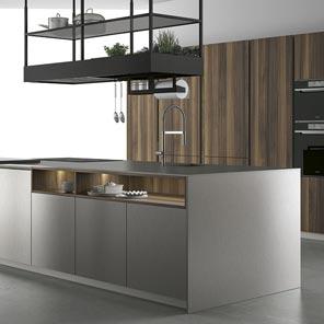 Cucina con telaio in alluminio, Cucina componibile ante in vetro