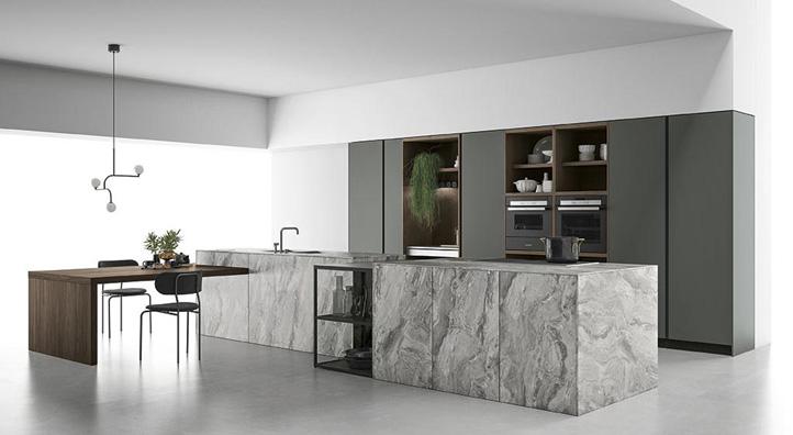 Cucina componibile ante in vetro, Cucina con telaio in alluminio