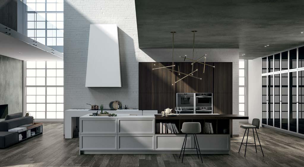 Cocina de estilo clásico contemporáneo, Cocina con puertas con marco