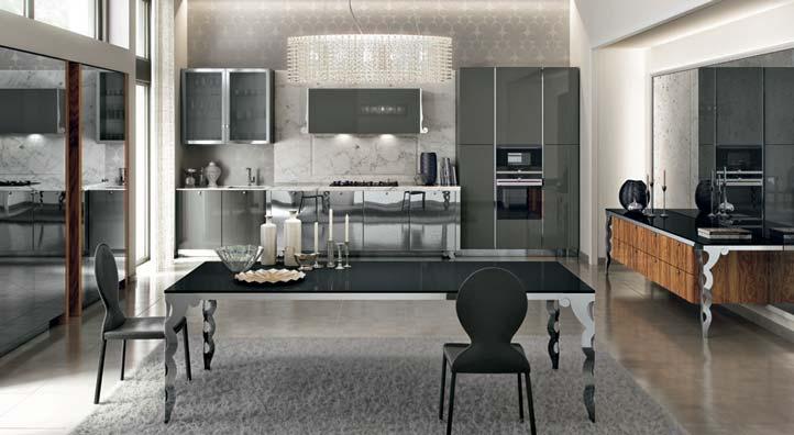Cucina in stile classico contemporaneo, Cucina con anta a telaio