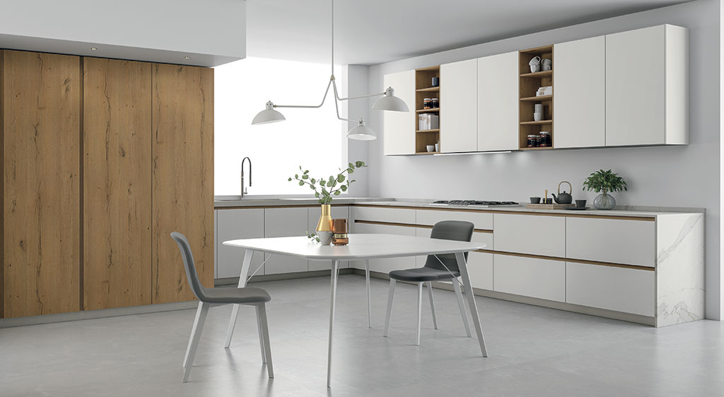 L Shaped Kitchens Doimo Cucine, Prefabricated Kitchen Cabinets Arranged In Single Wall